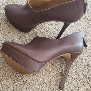 Nine West High Heel Platform Leather Brown Booties